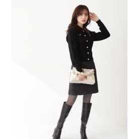 ビットチャーム付台形スカート ブラックミックス