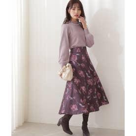 フラワープリントジャガードフレアスカート WEB限定カラー:ネイビー チャコールグレー2