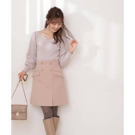 フロント釦台形スカート ピンク