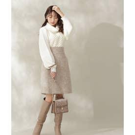 Winter Tweed 台形ミニスカート キャメル1