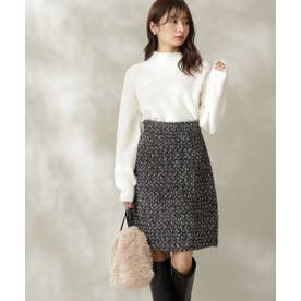 Monotone tweed 台形ミニスカート ブラック