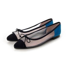LENA suede-mesh(レナ スエード-メッシュ)ポインテッドシューズ (NAVY_BLUE-GREY-LIU)
