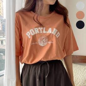 PORTLANDレタリングTシャツ (OrangeBrown)