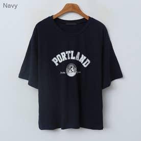 PORTLANDレタリングTシャツ (Navy)