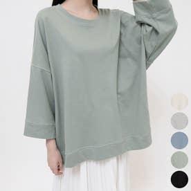 ステッチ7部袖ロングTシャツ (Khaki)