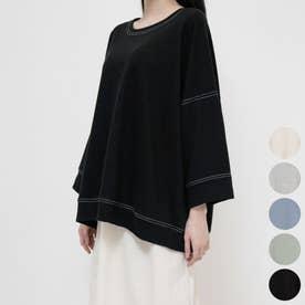 ステッチ7部袖ロングTシャツ (Black)