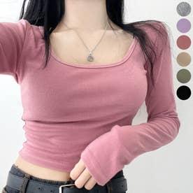スクエアネッククロップドTシャツ (Pink)