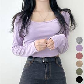 スクエアネッククロップドTシャツ (Purple)