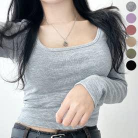 スクエアネッククロップドTシャツ (Gray)