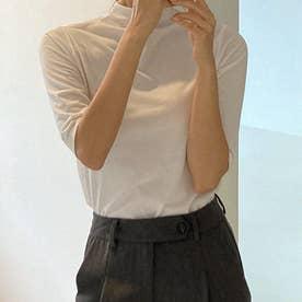 モックネックハーフスリーブTシャツ (Ivory)