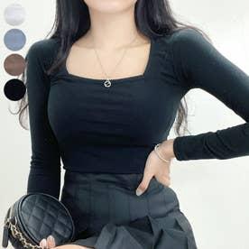 ワイドスクエアネックロングTシャツ (Black)