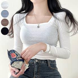 ワイドスクエアネックロングTシャツ (Ivory)