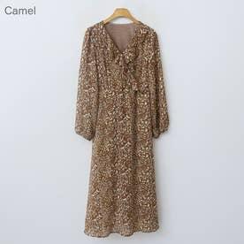 マーブルシフォンワンピース (Camel)