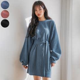 バルーン袖のリボンベルトワンピース (Blue)
