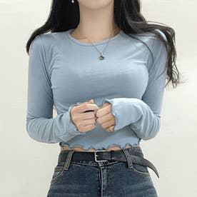 ウェーブヘムクロップドTシャツ (SkyBlue)