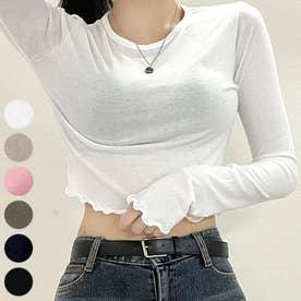 ウェーブヘムクロップドTシャツ (Ivory)