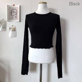 ウェーブヘムクロップドTシャツ (Black)