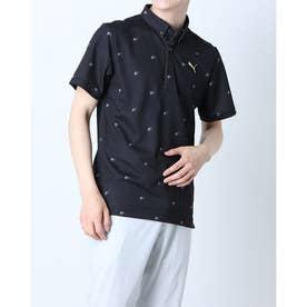 メンズ ゴルフ 半袖シャツ ゴルフ FORM STRIPEグラフィック SS ポロシャツ 930189 (ブラック)