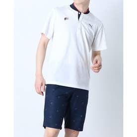 メンズ ゴルフ 半袖シャツ ゴルフ BBカラー SS ポロシャツ 930188 (ホワイト)