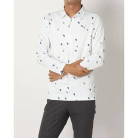 メンズ ゴルフ 長袖シャツ ゴルフPグラフィックLSポロシャツ_ 923991 (ホワイト)