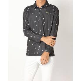 メンズ ゴルフ 長袖シャツ ゴルフPグラフィックLSポロシャツ_ 923991 (ブラック)