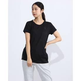 レディース フィットネス 半袖Tシャツ STUDIO レース キーホール SS Tシャツ 519965 (ブラック)