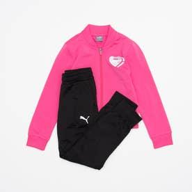 ガールズ ジャージ上下セット ポリ スーツ 585357 (ピンク)