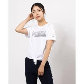 レディース フィットネス 半袖Tシャツ デジタル ロゴ Tシャツ 520700 (ホワイト)