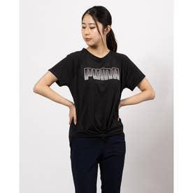 レディース フィットネス 半袖Tシャツ デジタル ロゴ Tシャツ 520700 (ブラック)