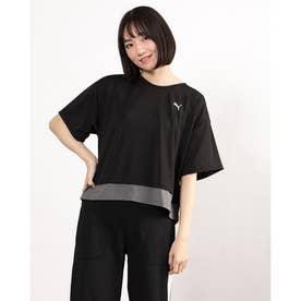 レディース 半袖機能Tシャツ トレーニング レイヤード Tシャツ 520545 (ブラック)