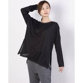 レディース フィットネス 長袖Tシャツ STUDIO グラフィン ロングスリーブ TOP 520710 (ブラック)