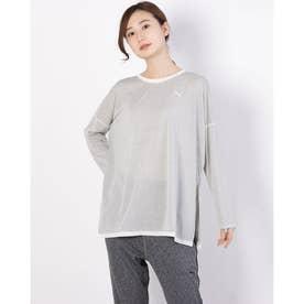 レディース フィットネス 長袖Tシャツ STUDIO グラフィン ロングスリーブ TOP 520710 (ホワイト)