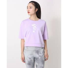 レディース 半袖機能Tシャツ MODERN SPORTS スウェット Tシャツ_クロップド丈Tシャツ_ 588727 (パープル)