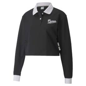 TEAM LS CROPPED POLO TOP (BLACK)