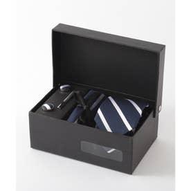 メンズ スーツ ギフト箱4点セット レジメンタルストライプ (ダークネイビー)