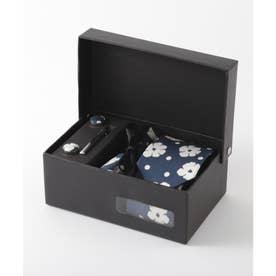 花柄ネクタイ メンズ スーツ ギフト箱4点セット (ホワイト×ブルー)
