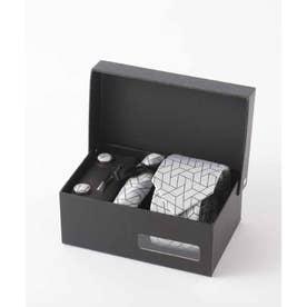 北欧デザイン メンズスーツギフト箱4点セット valoコラボ シルクネクタイ (ホワイト)