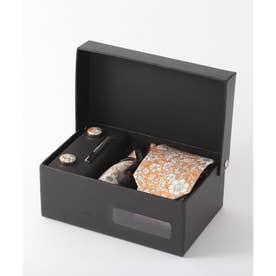 花柄ネクタイ メンズ スーツ ギフト箱4点セット (オレンジ)