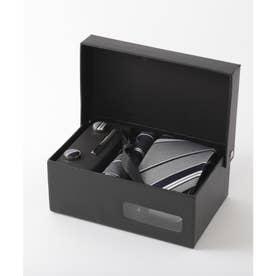 メンズ スーツ ギフト箱4点セット レジメンタルストライプ (シルバー)