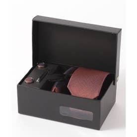 ヘリンボーン シルク編みネクタイ メンズ スーツ ギフト箱4点セット (ブラウン)
