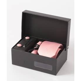 ヘリンボーン シルク編みネクタイ メンズ スーツ ギフト箱4点セット (ピンク)