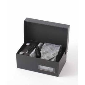 北欧デザイン メンズスーツギフト箱4点セット valoコラボ シルクネクタイ (ブラック)