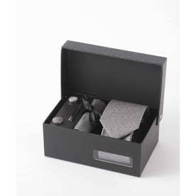 北欧デザイン メンズスーツギフト箱4点セット valoコラボ シルクネクタイ (グレー)