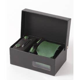 ヘリンボーン シルク編みネクタイ メンズ スーツ ギフト箱4点セット (グリーン)