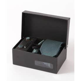 ヘリンボーン シルク編みネクタイ メンズ スーツ ギフト箱4点セット (ダークグリーン)