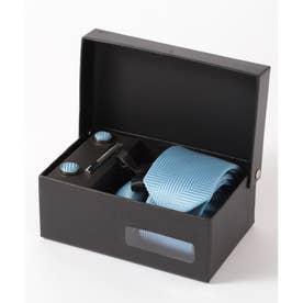 ヘリンボーン シルク編みネクタイ メンズ スーツ ギフト箱4点セット (ブルー)