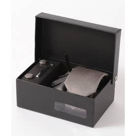 ヘリンボーン シルク編みネクタイ メンズ スーツ ギフト箱4点セット (グレー)
