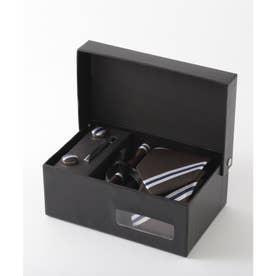 メンズ スーツ ギフト箱4点セット レジメンタルストライプ (ブラウン)