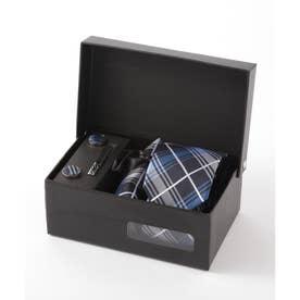 タータンチェック メンズ スーツ ギフト箱4点セット (ブルー)