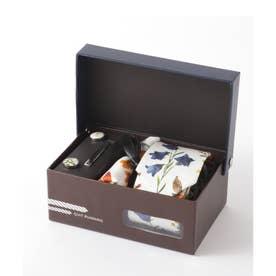 花柄ネクタイ メンズ スーツ ギフト箱4点セット (ホワイト)